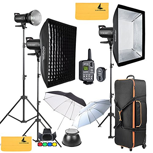 Flash-strobe Light-fotografie (Godox sk400ii 1200 W 2.4 G Photography Flash Studio Strobe Kit Three 400 W sk400ii Monolight Lighting, Includes 3 x 400 W sk400ii Strobe Light + 3 x Light Stand + 2 x 60 x 90 cm Soft box + 2 x Standard Reflektor + xt-16)
