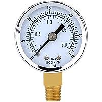 Barometro - TOOGOO(R)0 ~ 30 psi 0 ~ 2bar Mini esfera Manometro Medidor de compresor Medidor de presion hidraulica Calbre doble escala Negro