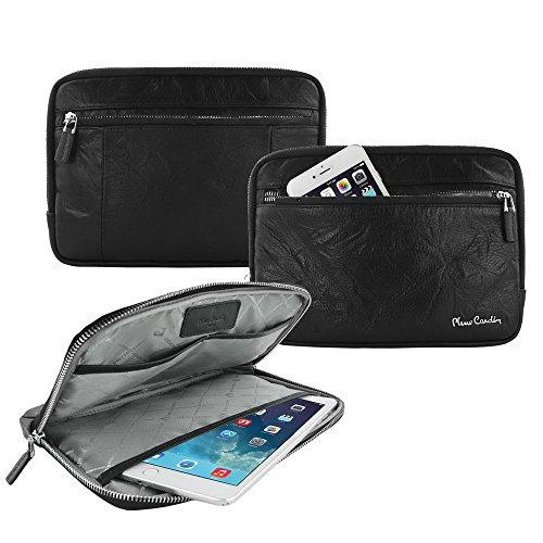 Preisvergleich Produktbild Pierre Cardin 7.9-8 Zoll erstklassiges echtes italienisches Kuh-Leder-handgemachter Geschäfts-tragender Beutel-Hülsen-Kasten-Abdeckungs-Schutz für iPad mini