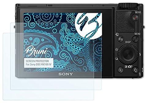 Bruni Sony DSC-RX100 IV Folie - 2 x glasklare Displayschutzfolie Schutzfolie für Sony DSC-RX100 IV