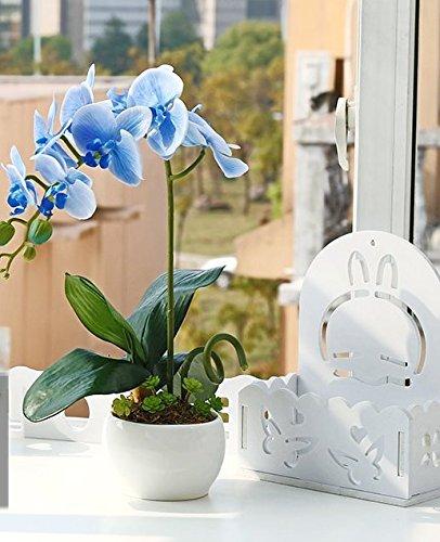 QQ-AILHP Fleur Artificielle Phalaenopsis Pot De Fleur En Porcelaine Blanche Ensemble En Pot Décoration Bleu 15X40Cm