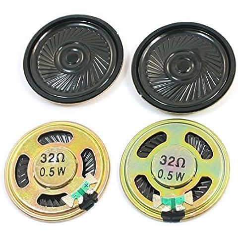 4 Pcs 0,5W 32 Ohm 40mm Diámetro Circular Metal Interior Imán Mini Altavoz