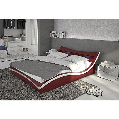 Polster-Bett 180x200 cm bordeaux aus Kunstleder mit blauer LED-Beleuchtung | Magari | Das Kunst-Leder-Bett ist ein edles Designer-Bett | Doppel-Bett 180 cm x 200 cm mit Lattenrost in Leder-Optik, Made in EU
