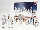 Set natività personaggi statue presepe presepio 10pz statuine cm18 remagi chiaro