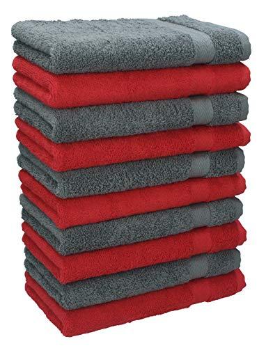 BETZ Lot de 10 Serviettes débarbouillettes lavettes Taille 30x30 cm en 100% Coton Premium Couleur Rouge et Gris Anthracite