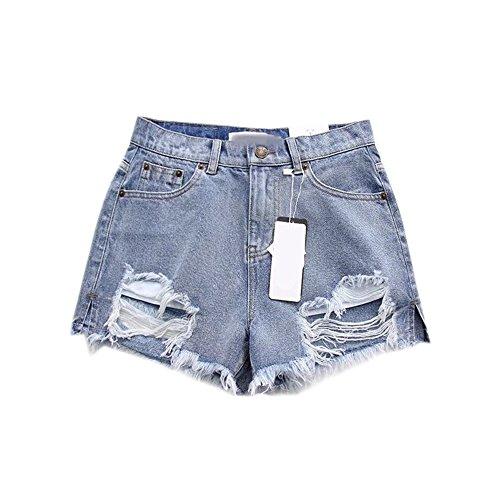 Estyle Fashion Damen Shorts Jeans Sommer Shorts Frayed Hüftjeans Ripped Hotpants Kurze Hose Blau A Size L