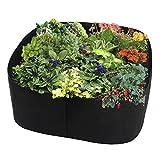 JYCRA Cama de jardín de tela elevada, rectangular, transpirable, contenedor de plantas, maceta para plantas, flores, verduras, negro, 24x24x16inch