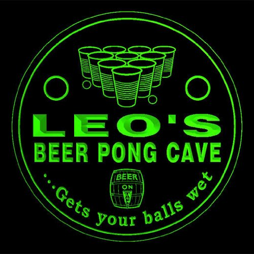 4x-ccqr0168-g-leos-beer-pong-cave-game-bar-beer-3d-drink-coasters