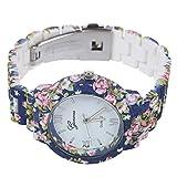 Montre-bracelet de fleur a quartz - Geneva Roman montre de fleur a quartz analogique Montre habillee pour femme Bleu marine