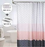CDGroup 120*180cm Anti-Schimmel Duschvorhang Pflegeleichte Duschabtrennung für Badewanne und Duschwanne 2 Duschvorhangringe für Badezimmer Bonus 12 Edelstahl Duschvorhanghaken