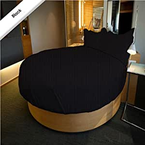 Super Soft Stripe Black 3PC Round Bed Sheet Set 100% Cotton - 96 inch Diameter