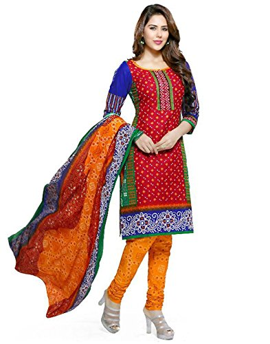 Dress Material Merito Cotton Multi Colored Printed Churidar Salwar Suit Dress Material(Set Of 3_Free_Mult Colour)  available at amazon for Rs.490