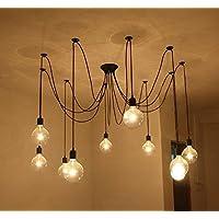 Multiple Vintage Chandelier Lights Ajustable DIY Ceiling Spider Lamp E27 Base Pendant Lighting Chandelier Modern Chic Industrial Dining Light Black (10 Lights)