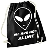 Coole-Fun-T-Shirts WE ARE NOT ALONE ! Gymbag Schwarz-Weiss