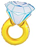 Funny Fashion Diamantring Alumium-Ballon Party-Accessoire Gold-blau 105cm Einheitsgröße
