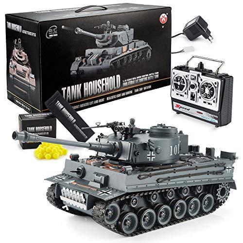 Goods & Gadgets Ferngesteuerter RC German Tiger I 2.4GHz R/C Panzer 1:16 Modellbau mit Schuss-Funktion, Sound - RTR