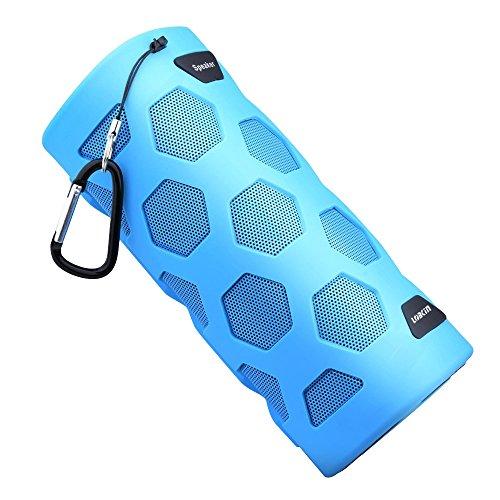 LOBKIN wasserdichter Bluetooth-Lautsprecher - IP65-Zertifiziert - Staubdicht & Stoßfest – NFC Power Bank– Freisprechfunktion durch eingebautes Mikrofon - 10W 18650 4000mAh Lithium-lon-Akku - kompatibel mit allen Bluetooth-Wireless- Geräten (Blau)