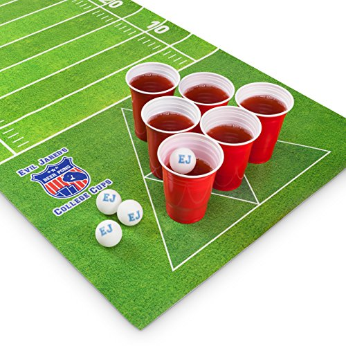 #Evil Jared's Beer Pong Matte Set | 180 x 60 cm Wasserfest und Reißfest | Inkl. 60 Red Cups + 6 Ping Pong Bälle | American Football Design Trinkspiel#
