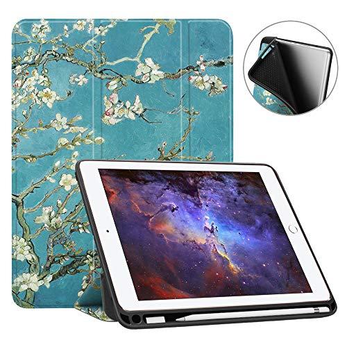 Fintie SlimShell Hülle für iPad 9.7 2018 - Superleicht Soft TPU Rückseite Abdeckung Schutzhülle mit eingebautem Apple Pencil Halter, Auto Schlaf/Wach für iPad 6. Generation, Mandelblüten