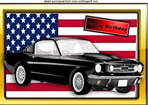 AMERICAN FLAG WITH FORD MUSTANG FOR BIRTHDAY A4 by Nick Bowley by Craftsuprint