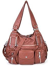 Bolso de Hombro de Cuero PU lavadas para Mujer Gran Capacidad Bolso de Escuela Hobo Bolso de Mano Shopper con Multi-Bolsillo para el Trabajo Viaje