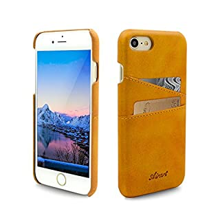 Airart iPhone 7 Card Case, Premium Vintage Soft Leather Wallet Case, Ultra Slim Professional Executive Snap On Back Cover with 2 ID Credit Card Slots Holder for iPhone 7 4.7 Inch, Congac Brown