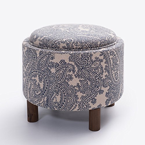 ZHILONG Tabouret Loisirs Tissu de mode + Table basse en bois massif Tabouret de rangement Tabouret Tabouret de rangement Tabouret de rangement (Couleur : A)
