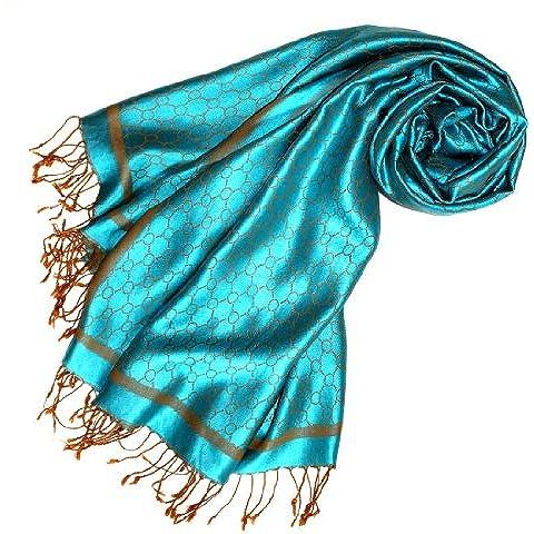 LORENZO CANA Pashmina sciarpa da donna 70 x 190 cm in seta fantasia blu turchese shrill Limone senape Seiden antisguardi 7809666