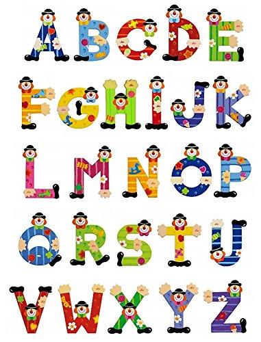 5 Sevi Holzbuchstaben Clown für Wunschname inkl Geschenkverpackung Türbuchstaben Kinderbuchstaben Holz Dekobuchstaben