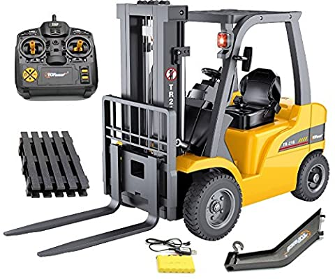 Top Race Remote Control Forklift, 8 Channel Full Functional Professional RC Forklift, High Powered Motors, 1:10 Scale ~Heavy Metal~ (TR-216)