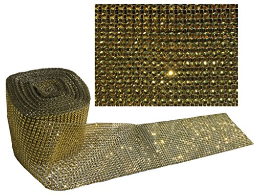 CRYSTAL KING 10m Dekoband Gold Glitzerband Strassband 12cm Breite Bordüre Glitzerband Glanz Band Dekoration Borte Tischdekoration