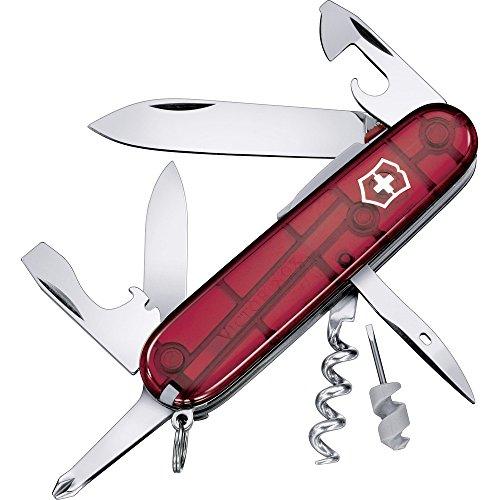 Victorinox Taschenmesser Spartan Lite (15 Funktionen, Grosse Klinge, LED-Licht) rot transparent