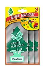 Idea Regalo - Arbre Magique Tris, Deodorante Auto, Fragranza Mela Verde, Profumazione Prolungata fino a 7 Settimane, Confezione Tripla