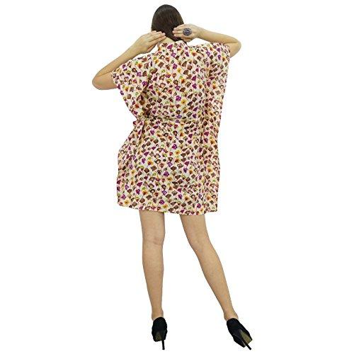 Bimba femmes Bohême coton imprimé Robe caftan tunique courte plage Caftan Violet
