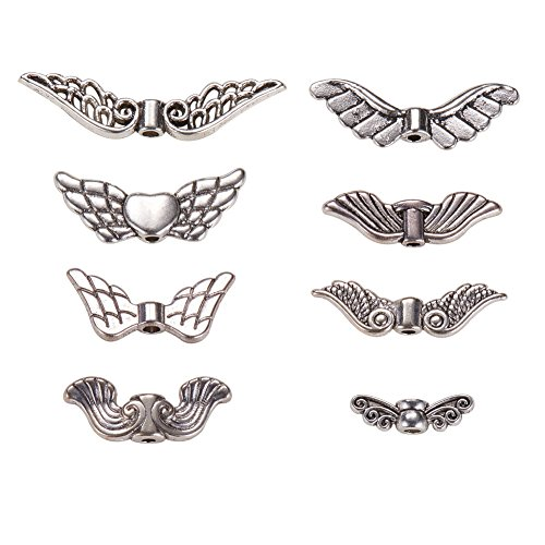 PandaHall Elite 160 Stück Tibetanische Flügel Spacer Perlen Antik Silber für DIY Schmuck -