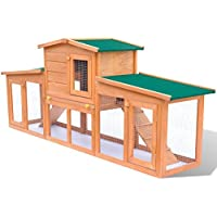 vidaXL Grande gabbia coniglio all'aperto Casa piccoli animali domestici con tetto Legno