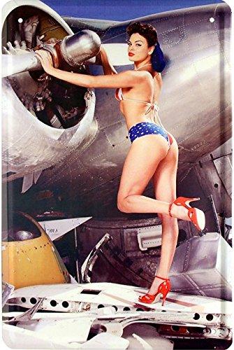 sexy-american-bikini-girl-with-old-us-airforce-plain-20x30-cm-blechschild-437