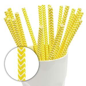 100Pailles/Pailles avec jaune papier pour muffins/Chevron (Avantage Quantité)