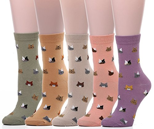 5-Pairs-Womens-Colorful-Cute-Cat-Crew-Cotton-Socks