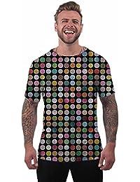 T-shirt pour homme à manches courtes motif drogues comprimés d'extase imprimé par sublimation pour vos vacances et festivals.