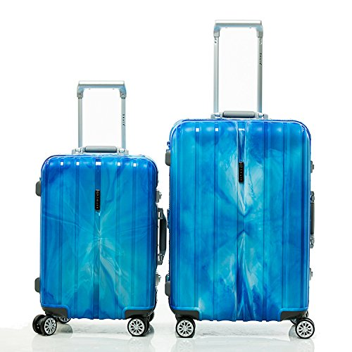 SHAIK® SH008 Designer Koffer Serie Marble - DEL 2X TSA Schloss Material Polyphthalamide (Grau, Set) (Blau)