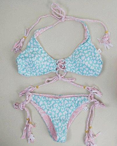 WTL Badeanzug Mode Badeanzug doppelseitig blau + rosa Druck gestreift Straps Split Bikini Beach Badeanzug Spa Badeanzug Blue+Pink