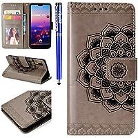 EUWLY Lederhülle für [Huawei P20], Leder Wallet Klapphülle Ledertasche Brieftasche Handytasche für Huawei P20, Retro Elegant Schön Mandala Blumen Prägung Malerei Muster Wallet Case Flip Hülle im BO