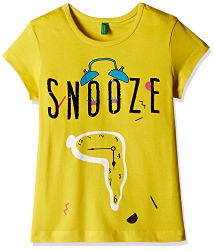 United Colors of Benetton Baby Girls' T-Shirt (16A3096C017CIK241Y_Yellow_1Y)