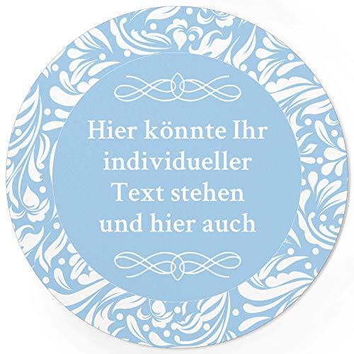 24 PERSONALISIERTE runde Etiketten mit Motiv: Hellblau Schnörkel - Ihre Aufkleber online selbst gestaltet, ganz individuell