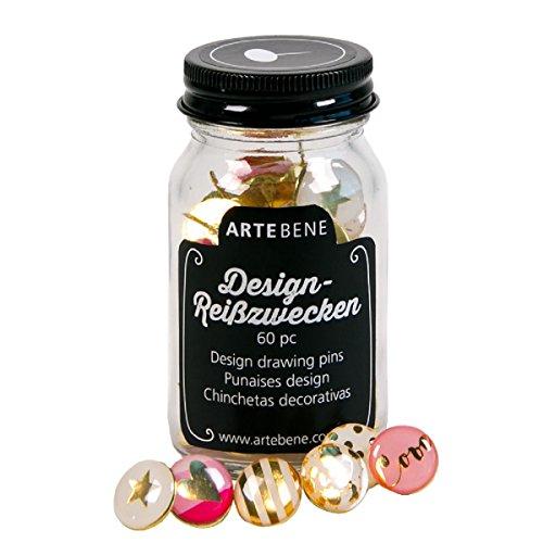 Motiv Design Reißzwecken Büro 60 Stück im Glas Pinnwand Nadeln Memoboard gold - Nadel-designs