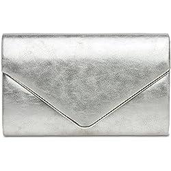 CASPAR TA349 Bolso de mano fiesta para mujer/Clutch elegante metalizado, Color:plateado, Tamaño:Talla Única
