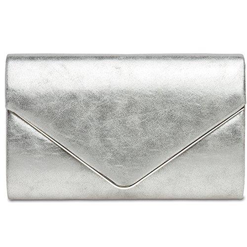 CASPAR TA349 Damen elegante Envelope Clutch Tasche / Abendtasche mit langer Kette, Farbe:silber;Größe:One Size (Handtaschen Kette Silber)