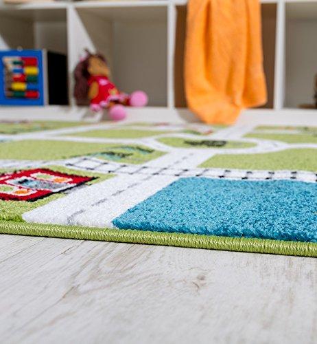Paco Home Kinderteppich Spielteppich City Hafen Straßenteppich Stadt Straße Grau Grün, Grösse:120x170 cm - 3