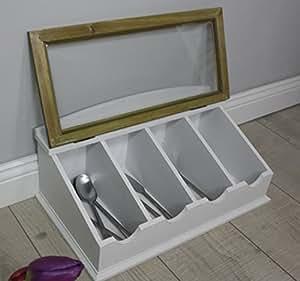 range couverts en bois style coffre bo te bijoux style maison de campagne neuf. Black Bedroom Furniture Sets. Home Design Ideas